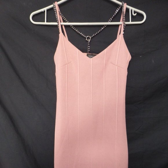 TOPSHOP, size 2, Dusty Pink, Chain Dress, BNWOT